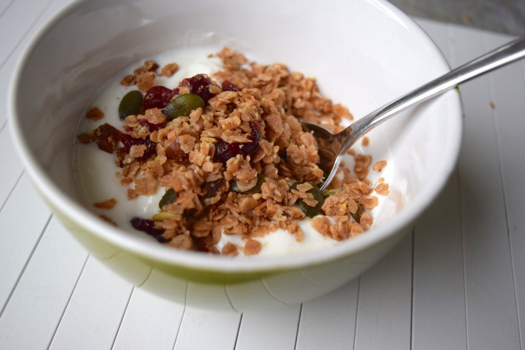 Granola yoghurt close